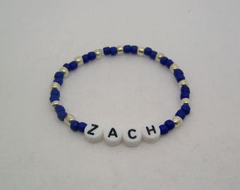 Boys, Bracelet, Personalize, Custom, Boy Jewelry, Kids, Beaded Bracelet, Personalized Bracelet, Stretch, Party Favors, Gift, Any Name