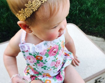 Baby Flower Crown, Gold Headband Baby, Flower Girl Headband, Baby Floral Headband, Toddler Headband, Baby Floral Crown, Gold Baby Headband,