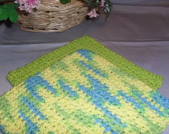 100% Cotton Wash Dish Cloth: CARIBBEAN BRIGHTS COLLECTION  Set of Two