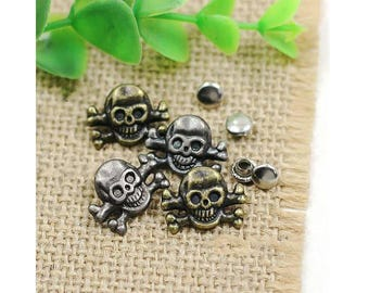 10 Pcs 0.51*0.71 Inches Retro Anti-silver/Bronze Skull Rivets Metal Shank Buttons For Jeans/Bags/Decoration Accessories