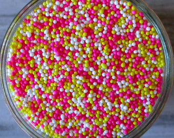Sprinkles, 6 oz - Pink Lemonade Nonpareils Mix - for Dipped Pretzels, Strawberries or Glass Rims - Cupcakes - Cake Pops - Ice Cream Toppings