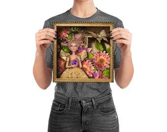 Poster, Portrait #62, Glow, wall art, digital collage, digital print, art print, wonderland, art, 18x18, 14x14, 10x10,