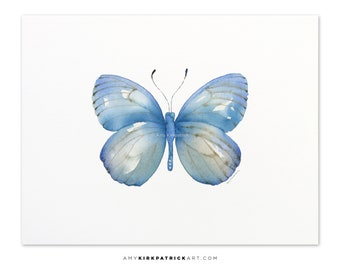 Blue Butterfly Painting, Butterfly Print, Original Blue Butterfly Watercolor, Butterfly Greeting Cards, 112 Blue Marcia Butterfly