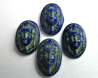 6 Vintage Egyptian Revival-Style Motif Antiqued Lapis Blue and Green Oval Glass Cabochon Cb117