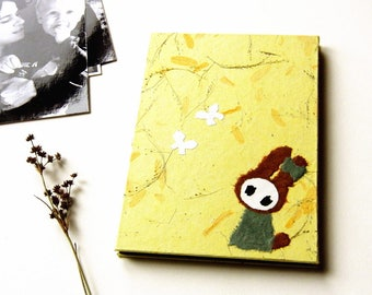 "Accordion Photo Album ""Bunny in Leaf Flurry"" Mulberry Paper"
