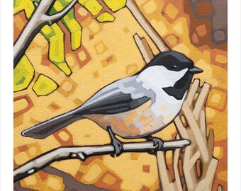 "Bird Art Print, 8"" x 8"" - Black-capped Chickadee"