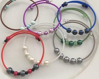 Choker wrap bracelet, Memory wire glass pearl bracelet, wrap bracelet, pick your color, colorful