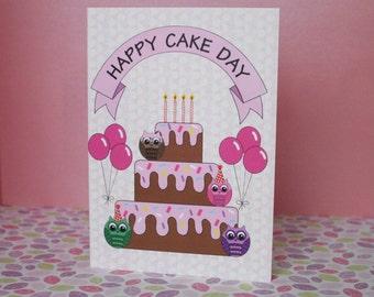 Happy Cake Day - Owl Birthday Greeting Card