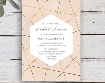 Geo Printable Bridal Shower Invitation with Gold Geometrics on a Nude Pink Watercolour Background
