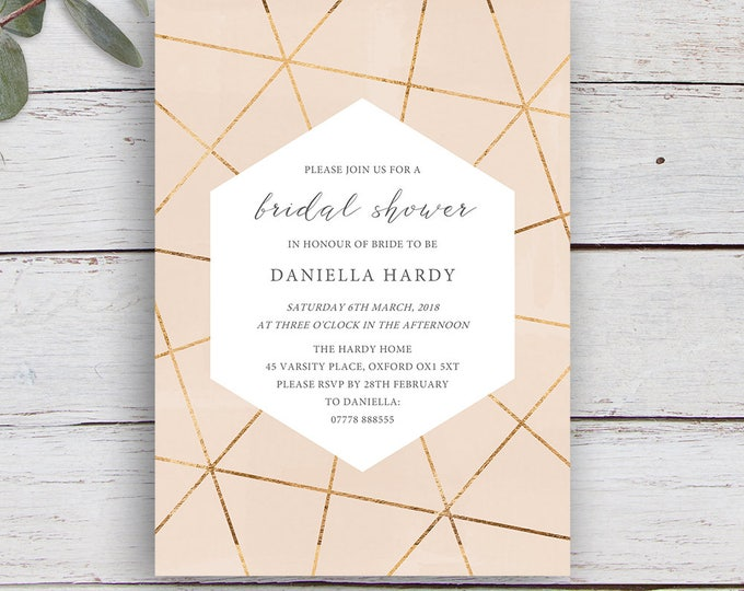 Featured listing image: Geo Printable Bridal Shower Invitation with Gold Geometrics on a Nude Pink Watercolour Background