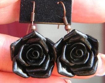 Black Victorian Rose or Vintage Gothic Black Rose Cameo - Cabochon Earrings