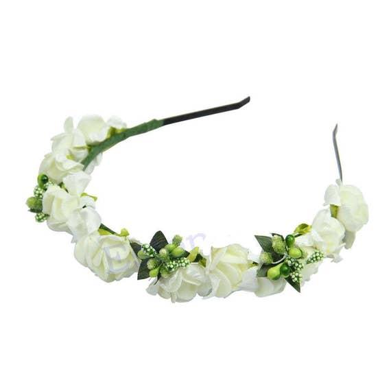 White Flower Garland Headband Bride Bridesmaid Flower Girl