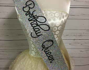 Birthday Sash - Glitter Sash - Personalised Sash - Any Age - silver glitter handmade sparkle - can be personalised happy 21st birthday