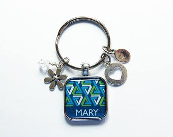 Keychain with name, Blue Green keyring, Personalized Keychain, Modern Design, Keychain for women, Gift for her, keyring with name (8503)
