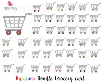 43 Doodle Grocery cart clipart, Shopping cart. Personal and comercial use.