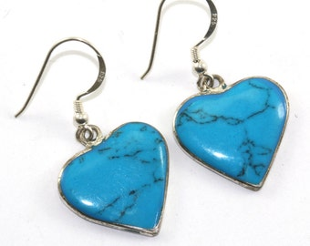 Vintage Mexico Alpaca Heart Shape Turquoise Dangle Earrings Sterling Silver ER 731