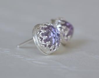 Pink Amethyst & Sterling Silver Crown Detail Stud Earrings. Amethyst Studs. Gemstone Earrings. Crown Set Studs. Pink Amethyst Studs.