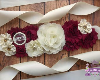 Ivory Burgundy Maternity Sash, Holiday Baby Sash, Christmas Baby Shower, Holiday Maternity Prop, Holiday Pregnancy Sash, Christmas Baby Prop