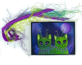 Alien Cats Bookmark Space Cats Bookmarker Green Alien Cat Fantasy Cat Art Mini Bookmark Gift For Cat Lover