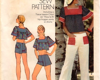 Vintage 1974 UNCUT Simplicity How-to-Sew Pattern 6280 - Misses Crop Top, Hip-Hugger Bell Bottom Pants & Hot Pants - 12