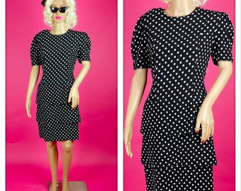 Vintage 1980s Black and White Polka Dot Dress with Three Tiered Skirt