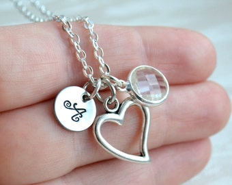 Silver bridesmaid necklace Personalized bridesmaid jewelry Clear bridesmaid necklace with initial and heart charm Bridesmaid gifts