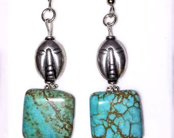 Turquoise dangle earings by V. C. Torias