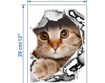 1pc PVC Plastic Toilet Sticker adhesive and 3D & waterproof Cat Design-8199m