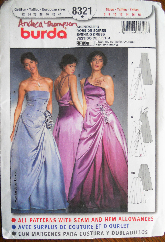 Burda 8321. Misses evening dress pattern. Bridal fashion