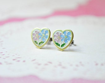 Daisy Heart Earrings - Blue & Pink Daisies - Shabby Chic - Surgical Steel Earrings - Floral Earrings