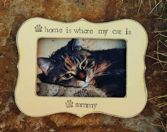 Custom Pet Frame Gift for Pet Lover Gift personalized Cat picture Frame Custom cat Pet Frame Home is where my cat is photo frame