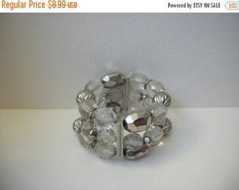 ON SALE Vintage Chunky Shades Of Silver Transparent Triple Row Bracelet 914
