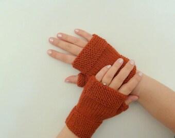 Knitted woolen mittens