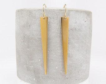Gold Spike Earrings - Gold Earring - Long Triangle Earrings - Dangle Earrings