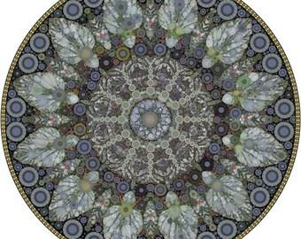 Green Leaf Bubblewheel, Mandala Art Matted Print, Botanical Mandala