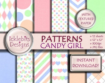 """Patterned TEXTURED Digital Paper Pack for Scrapbooking, """"CANDY GIRL"""" pink, green, peach, blue, stripes, polka dot, hearts, argyle,Design #35"""