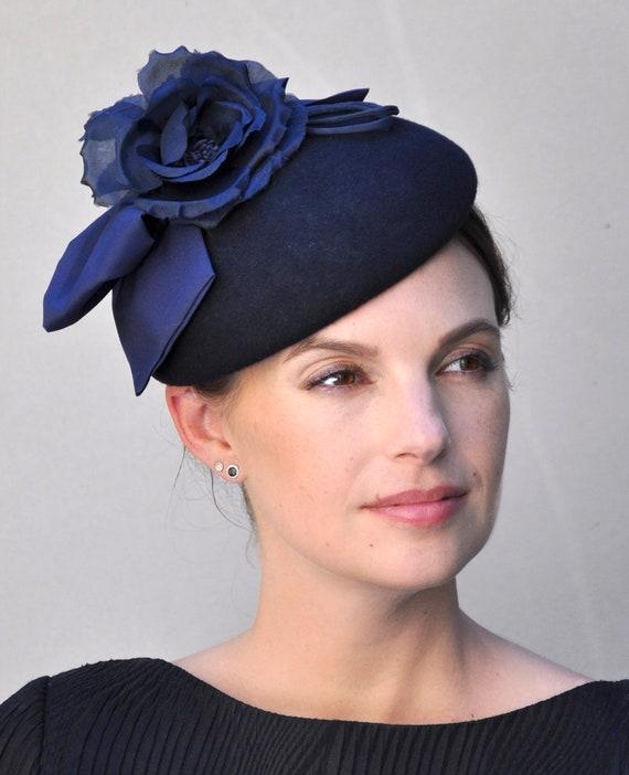 Navy Fascinator, Ladies Navy Hat, Wedding Hat, Church Hat, Winter Fascinator Hat, Occasion Hat