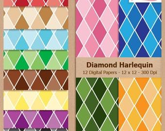 Digital Scrapbook Paper Pack - DIAMOND HARLEQUIN PATTERN - Instant Download