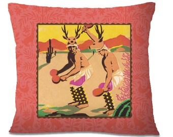 DEER DANCERS Pillow Cover - Mexican - Venadito Dancers - Little Deer - Ritual Animal Dance - Folklorico - Southwest - European Linen Backing