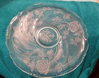 13.5 inch glass platter Heisey rose