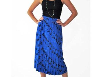 Vintage Bow Printed Blue Silk Maxi Skirt