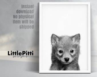 Wolf print, wolf cub photo, cute baby animal, woodland animals, grey black white animal, kids room decor, cub wolf print, woodland art decor