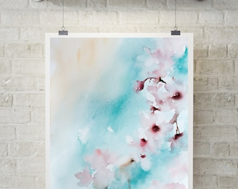 Abstract Realism Pink blossoms fine art print, watercolor painting art, floral print, abstract botanical wall art print