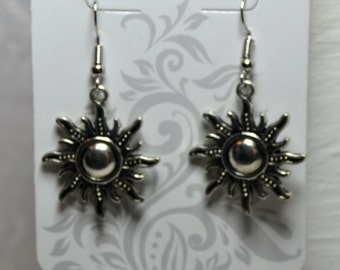 Sun Dangle Earrings Sun Jewelry Sun Charms  Earrings Silver Plated Fish Hooks Nickle and Lead Free