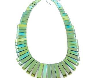 hematite beads, gemstone beads, geometric beads, green beads, metallic beads, semiprecious beads, gemstones, modern beads,hematite stone,