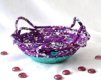 Violet Artisan Bowl, Handmade Key Holder, Hand Coiled Fabric Basket, Rustic Batik Candy Dish, Purple Violet Textile Art Basket