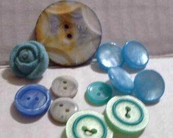 Blue Mix Button Bundle