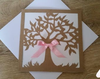 Tree of happiness wedding announcements