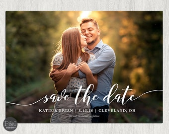 Photo Save the Date, Printable Wedding Save the Date Card, Save the Date Postcard | 5x7 Customizable Digital File