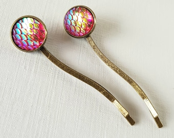 2 x Pink Mermaid Scales Curved Bobby Pins, Pink Mermaid Hair Grips, Mermaid Party, Mermaid Gift, Mermaid Tail, Gift For Her